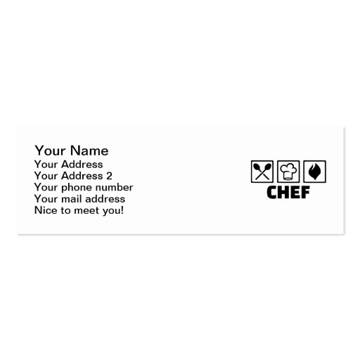 Chef cook hat equipment business card