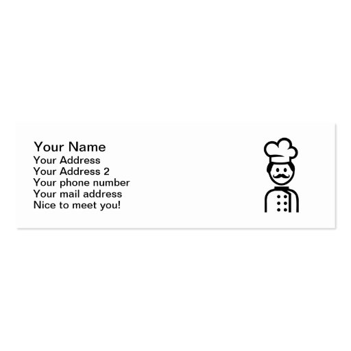 Chef cook hat mustache business card templates
