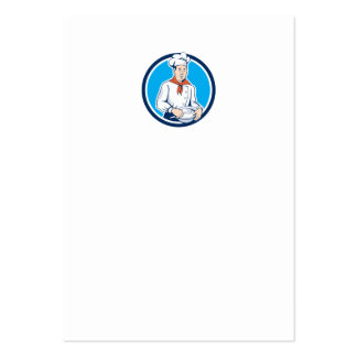 Chef Cook Holding Spoon Bowl Circle Cartoon Business Cards