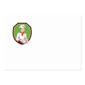 Chef Cook Holding Spoon Bowl Shield Cartoon Business Card Template