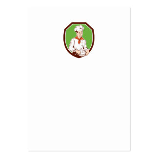 Chef Cook Holding Spoon Bowl Shield Cartoon Business Card Templates