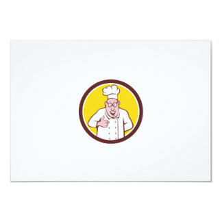 "Chef Cook Thumbs Up Circle Cartoon 3.5"" X 5"" Invitation Card"