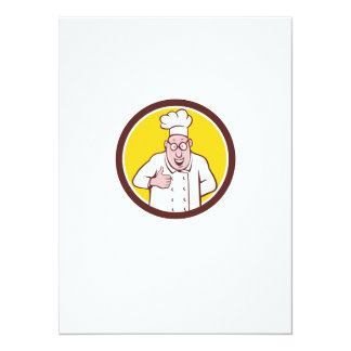 "Chef Cook Thumbs Up Circle Cartoon 5.5"" X 7.5"" Invitation Card"