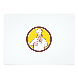 "Chef Cook Thumbs Up Circle Cartoon 5"" X 7"" Invitation Card"