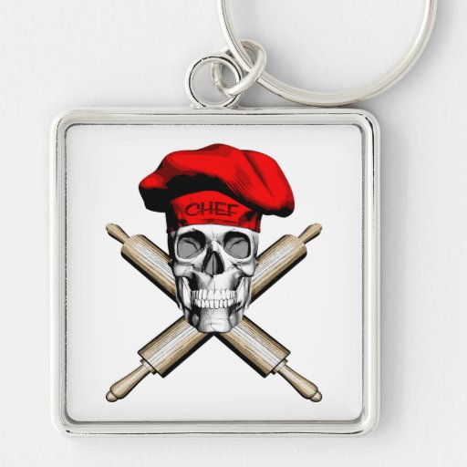 Chef Crossed Rolling Pins Red Key Chains