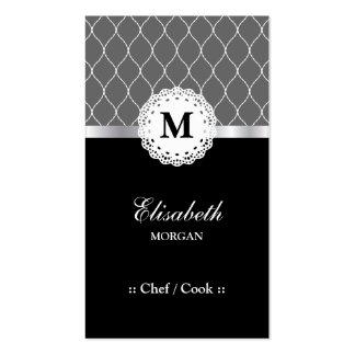 Chef/cuisinier - motif noir élégant de dentelle carte de visite standard