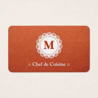 Chef de Cuisine Elegant Lace Monogram Business Card