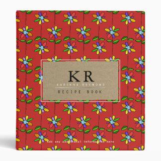 chef elegant monogram with colorful flowers red vinyl binder