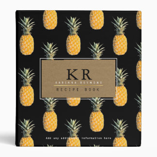 chef elegant monogram with pineapples, recipe vinyl binders