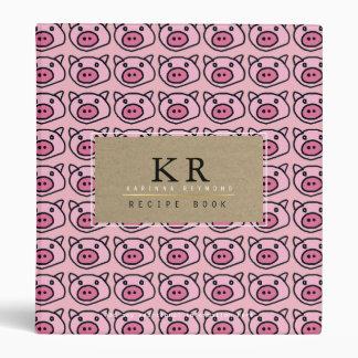 chef elegant monogram with pink pigs, recipe binders