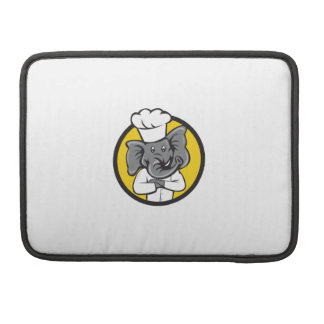 Chef Elephant Arms Crossed Circle Cartoon MacBook Pro Sleeve