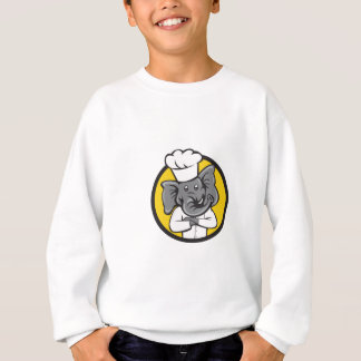 Chef Elephant Arms Crossed Circle Cartoon Sweatshirt