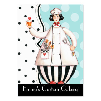 Chef Girl Cupcake Business Card - Black Hair