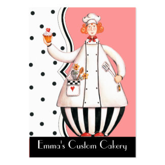 Chef Girl Cupcake Business Card - Red-Orange Hair