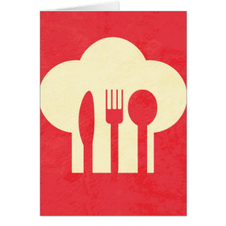 Chef Hat & Utensils on Red Card