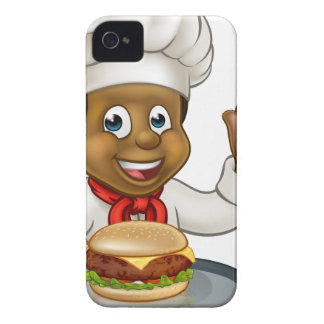 Chef Holding Burger Cartoon Character iPhone 4 Case