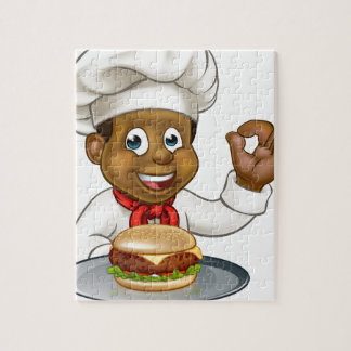 Chef Holding Burger Cartoon Character Jigsaw Puzzle