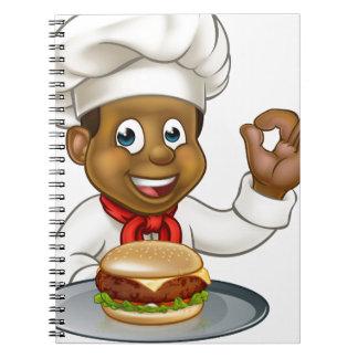 Chef Holding Burger Cartoon Character Notebook