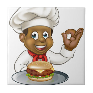 Chef Holding Burger Cartoon Character Tile