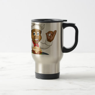 Chef Holding Burger Cartoon Character Travel Mug