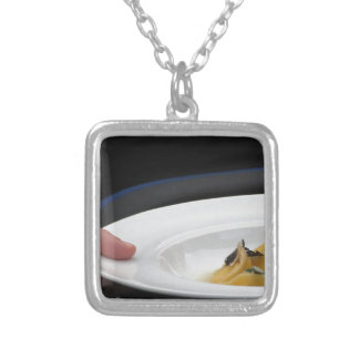 Chef holding cooked handmade Agnolotti to serve Silver Plated Necklace