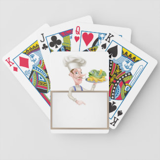 Chef Holding Fish and Chips Pointing at Sign Bicycle Playing Cards