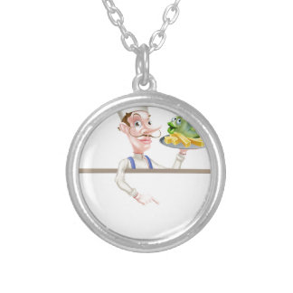 Chef Holding Fish and Chips Pointing at Sign Silver Plated Necklace