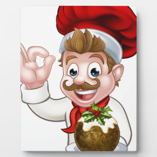 Chef in Christmas Hat Holding Pudding Plaque