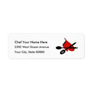 Chef Kitchen Icon Cook Return Address Label