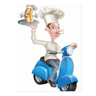 Chef on Scooter Moped Delivering Hotdog Mascot Postcard