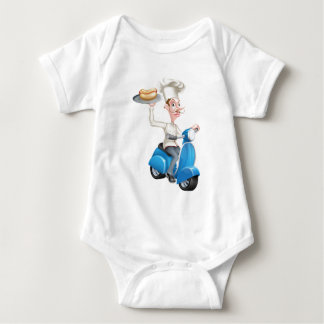 Chef on Scooter Moped Hot Dog Baby Bodysuit