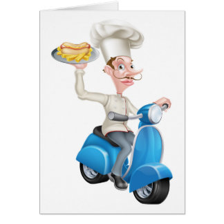 Chef on Scooter Moped with Hotdog and Chips Card