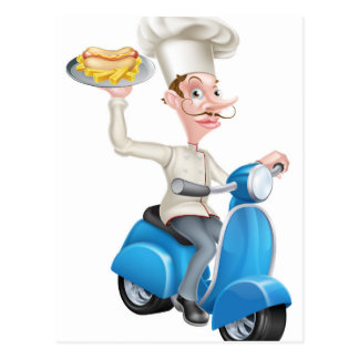 Chef on Scooter Moped with Hotdog and Chips Postcard