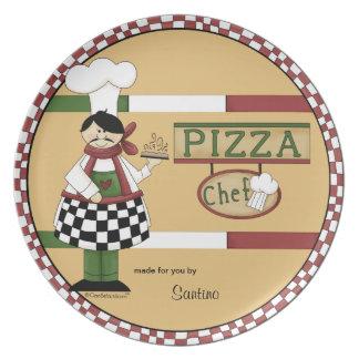 Chef personnalisable de pizza assiettes pour soirée
