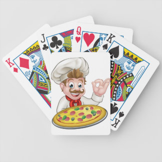 Chef Pizza Cartoon Character Mascot Bicycle Playing Cards