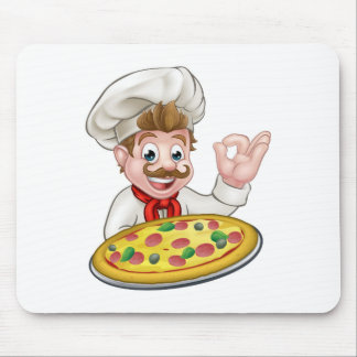 Chef Pizza Cartoon Character Mascot Mouse Pad