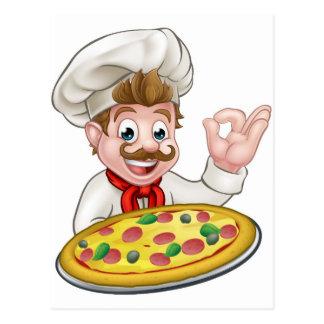 Chef Pizza Cartoon Character Mascot Postcard