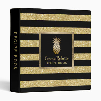 Chef Recipe Pineapple Modern Gold Stripes Cooking 3 Ring Binders