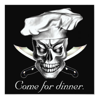 """Chef Skull 3.1 5.25"""" Square Invitation Card"""