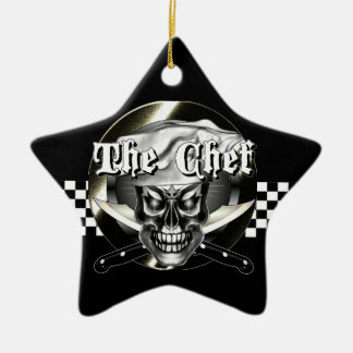 Chef Skull 3.1 Ceramic Star Ornament