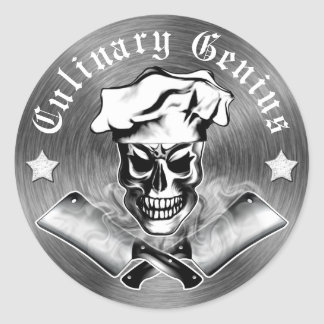Chef Skull 3 Classic Round Sticker