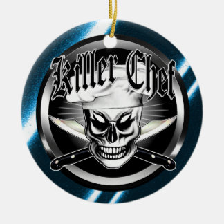 Chef Skull 4: Killer Chef Round Ceramic Ornament