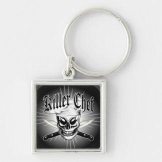 Chef Skull 4: Killer Chef Silver-Colored Square Keychain