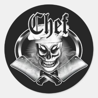 Chef Skull 4 Round Sticker