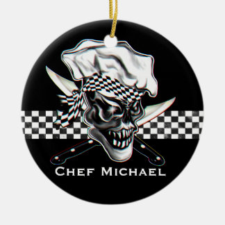 Chef Skull 5 Round Ceramic Ornament