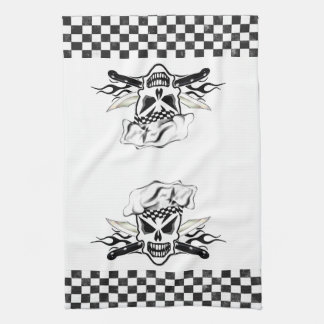 Chef Skull adn Flaming Chef Knives 2 Kitchen Towel