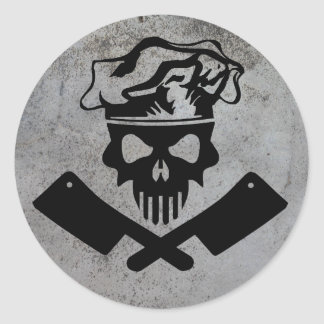 Chef Skull and Cleavers Classic Round Sticker