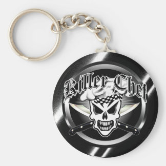 Chef Skull and Crossed Chef Knives 2 Basic Round Button Keychain