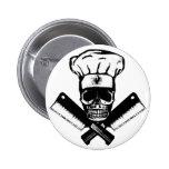 Chef Skull (B&W) 2 Inch Round Button