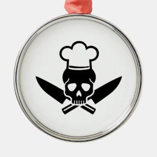 Chef skull metal ornament